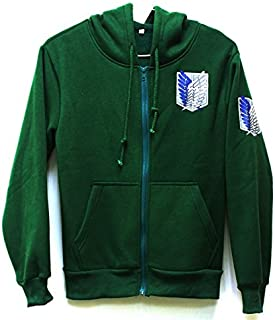 Attack on Titan Jacket Zip Hoodie Sweater Unisex Cosplay Costume for Boys Adults