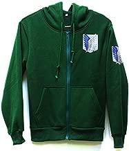 Attack on Titan Jacket Zip Hoodie Sweatshirts Unisex Cosplay Costume for Boys Adults (Green, M)