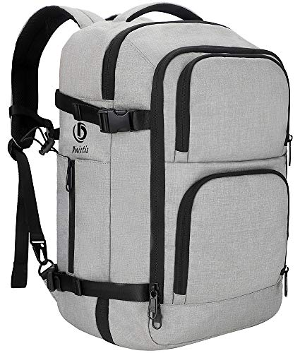 Dinictis 40L Flight Approved Carry on Travel Backpack, Weekender Bag - Grey