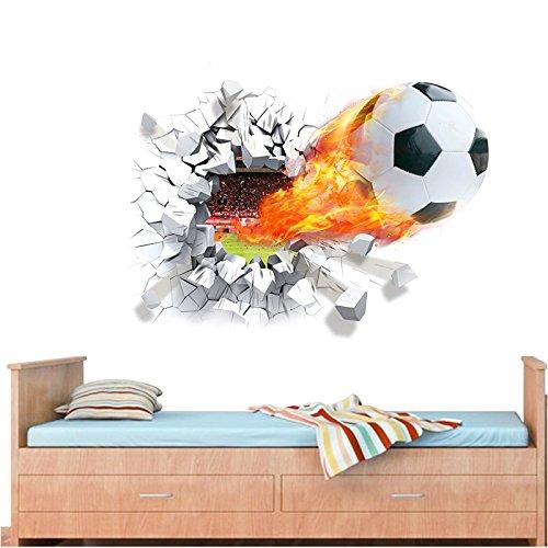 Bola del fútbol pegatinas de pared de la decoración de la habitación Grandes Conjunto de pegatinas Arte de la etiqueta (3 colors) (multicolor)