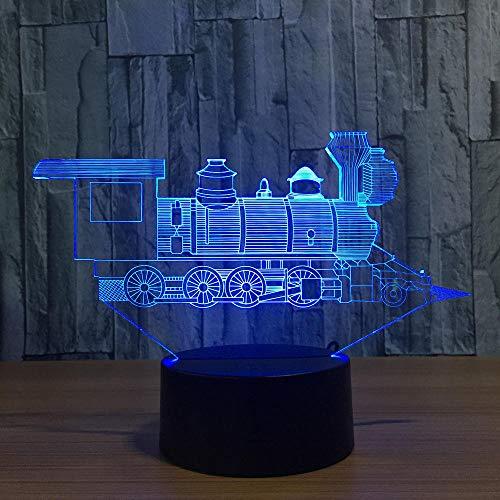 Lokomotive Ancient Train 3D Visual Illusion Lampe Acryl LED 3D Nachtlicht 7 Farbwechsel Touch Table Bulbing Lampe