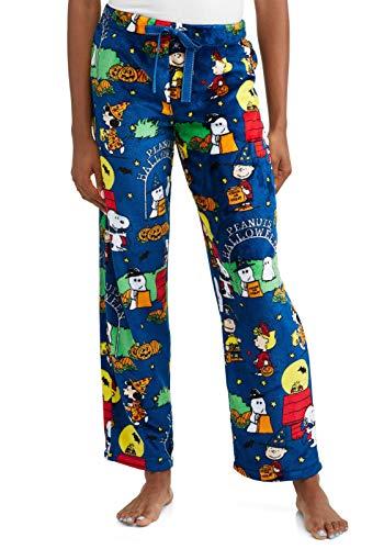 Peanuts Halloween Snoopy Charlie Brown Damen Pyjama Minky Fleece Schlafhose Blau Medium 36-38