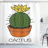 ABAKUHAUS Cactus Cortina de Baño, Planta con la Flor Amarilla, Material Resistente al Agua Durable Estampa Digital, 175 x 200 cm, Naranja Verde Amarillo