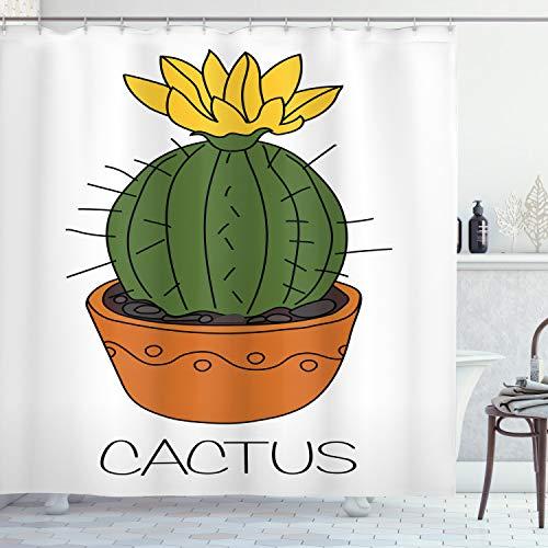 ABAKUHAUS Cactus Douchegordijn, Plant met gele bloemen, stoffen badkamerdecoratieset met haakjes, 175 x 240 cm, Oranje Groen Geel