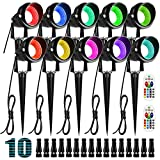 ZUCKEO 10W RGB Color Changing Landscape Lighting LED Low Voltage Landscape Lights with Connectors, Remote Control IP66 Waterproof Yard Lawn Garden Flag Outdoor Spotlights (10Pack with Connectors)