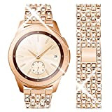 wlooo Diamante Reloj Correa para Samsung Galaxy Watch 3 45mm/Galaxy Watch 46mm, Glitter Bling Watchband Pulsera Hombres Mujeres Cristal Rhinestone Correa Reemplazo Metal Inoxidable (22mm, Oro Rosa)