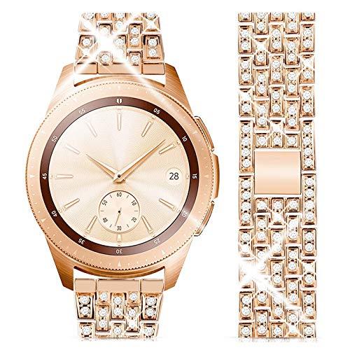 wlooo Diamante Reloj Correa para Samsung Galaxy Watch 3 41mm/Active 2 40mm 44mm/42mm, Bling Watchband Pulsera Hombres Mujeres Cristal Rhinestone Correa Reemplazo Metal Inoxidable (20mm, Oro Rosa)