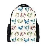 FANTAZIO Mochila colorida para cachorros con patrón de perros, mochila escolar