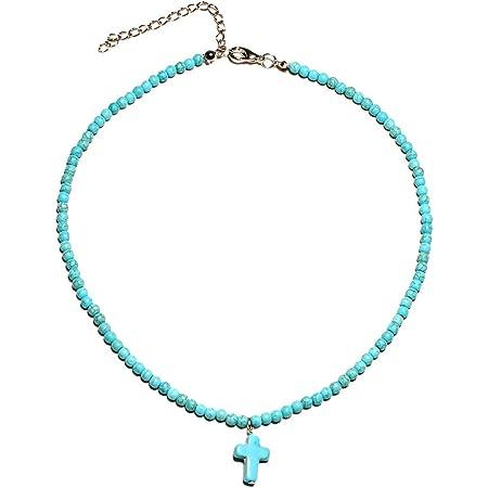 Collar con colgante de cruz cristiana de moda collar de gargantilla de turquesa para mujeres niñas