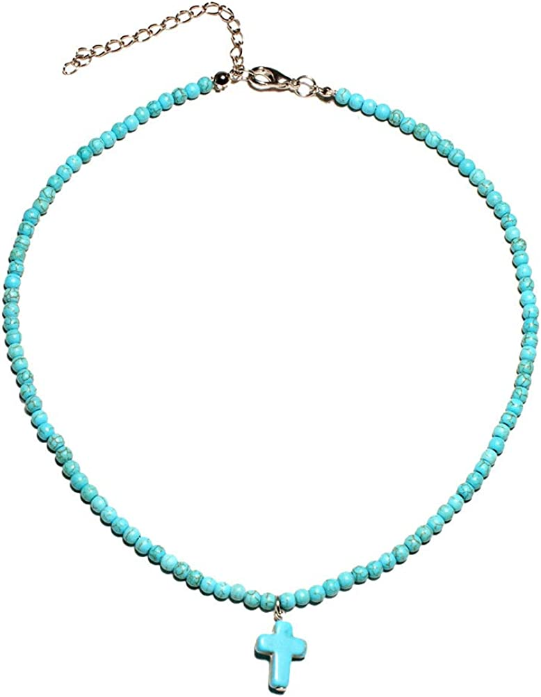 Cross Pendant Necklace Round Turquoise Clavicle Necklace Handmade Beads Choker for Women Girls