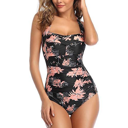Smismivo Tummy Control Swimwear Black Halter One Piece Swimsuit Ruched Padded Bathing Suits for Women Slimming Vintage Bikini (Orange Leaf, Large)