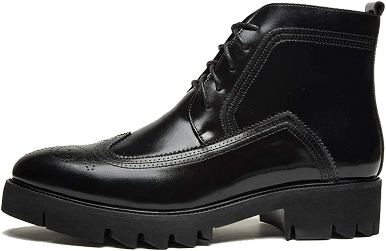 Easy Go Shopping Men's Fashion Leisure Boots Casual High-top Individual PU Leather Lace up shoes. Cricket shoes (color   Black, Size   8.5 UK)