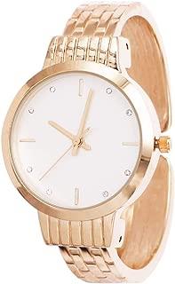 Rosemarie Collections Women's Stylish Matte Silver Face Brick Pattern Cuff Bracelet Watch