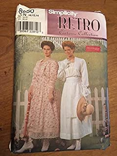 Simplicity 8650 Sewing Pattern, Misses' Dress, Retro Costume Collection, Size N (10,12,14)