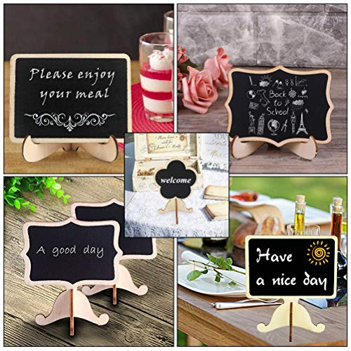 40 Pack Mini Chalkboard Signs with Stand Vankcp 5 Different Shapes Mini Message Board Signs and a Chalk Eraser for Table Signs, Food Signs Weddings or Special Occasion Decoration Photo #5