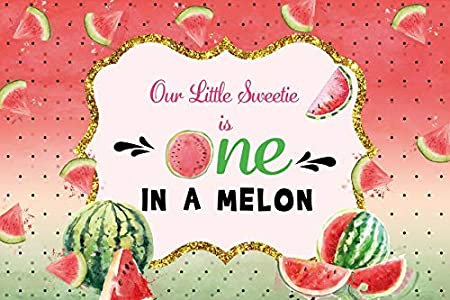 OERJU 15x10ft Birthday Backdrop for Kids Watermelons Golden Glitter Frame Our Little Sweetie is One in A Melon Baby One Year Old Happy Birthday Photography Background Newborn Baby Party Decor Banner