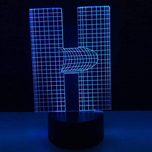 GEZHF Illusion Nachtlicht 3D Buchstabe H LED Tisch Schreibtischlampe 7Colors USB Charging Illuminate Kinderzimmer Dekoration Weihnachten Halloween Geburtstagsgeschenk
