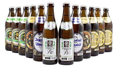 Augustiner Bier-Set Kennenlern Paket - Weißbier, Helles, Dunkles, Edelstoff und Pils - 10 x 0,5 Liter & 2 x 0,33 Liter