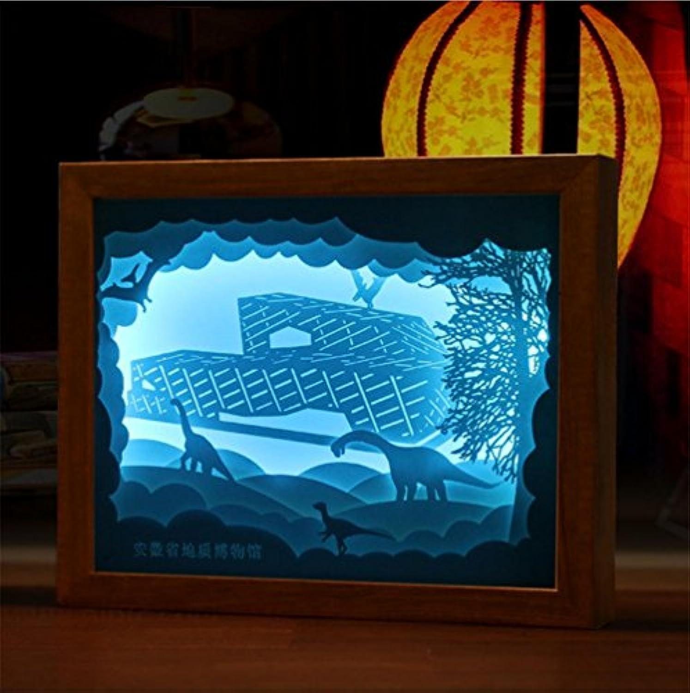Q&M 3D Stereo Papier Skulptur Kreative Nachtlicht Museum Memorial Licht Und Schatten Papier Geschnitzte Lampe