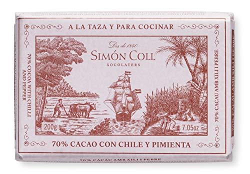 Chocolates Simón Coll, Barrita grande de chocolate (Chilli y pimienta, 70% cacao) - 20 de 200 gr. (Total 4000 gr.)