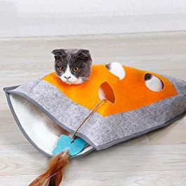 Cat Sleeping Cat Tunnel Kitty Cat Litter Warm Blanket Caught Dodge Bags Cat Toys Ring Paper Puzzle With 48 * 37cm Crate