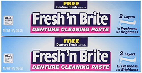 Fresh'n Brite Dual-Layer Denture Toothpaste, 3.8 Ounce (Pack...