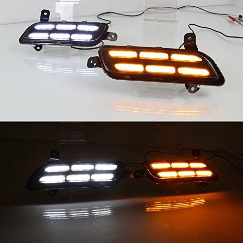 July King Guide de lumière LED pare-chocs avant circulation diurnes pour Vitara Brezza 2015-2019, LED DRL avec lumière jaune clignotants