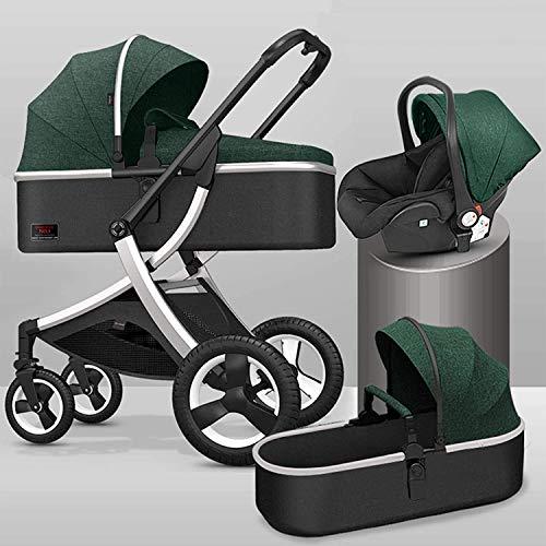 YZPTD 3 en 1 Carro de bebé, Plegable con una Mano, Cochecito de bebé con Cesta de Almacenamiento, Cochecito de Cochecito Compacto con Tapa de mosquitera y pie para recién Nacidos (Color : A)