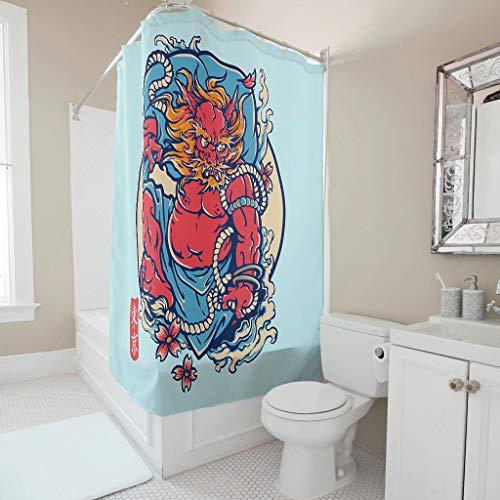 Sweet Luck Cortina de ducha japonesa Devil antimoho, resistente al agua y lavable, de tela de poliéster textil, cortina de baño con ganchos para cortina para cuarto de baño, color blanco, 150 x 200 cm
