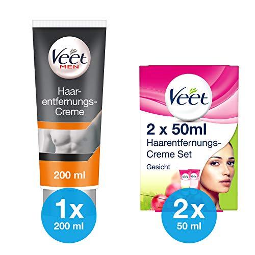 Veet Haarentfernungs-Creme Set Gesicht 100ml + Veet for Men Haarentfernungs-Creme 1x200ml Power Effect