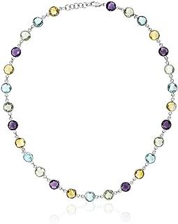 925 Sterling Silver 8MM Round Amethyst Blue-Topaz & Citrine 43.00 Carat Necklace 18 Inch