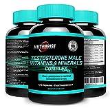 Potente Fórmula de Incremento de Testosterona, Compuesto de Vitaminas y Minerales Masculinos con Acetil L-Cisteína, Gluconato Deshidratado de Zinc, Bisglicinato de Magnesio, Selenita de Sodio, Vitamina D3, Vitamina B6 - 120 Cápsulas