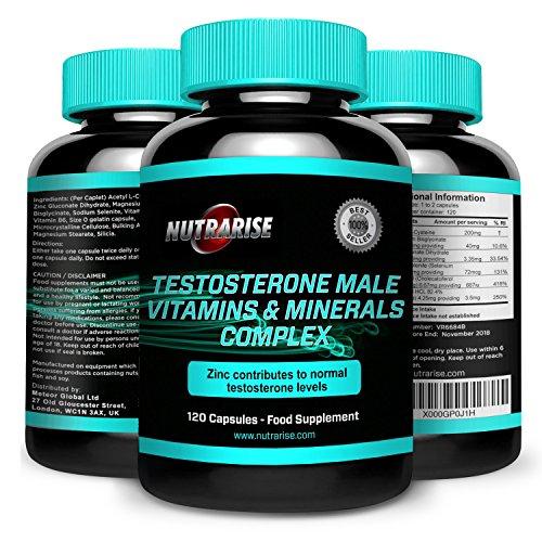 TestosteronBooster, Vitamine-Mineralstoffe, Hochdosierter Testo Komplex, Muskelaufbau, Bahnbrechende Energiezufuhr und Testosteronbombe Für Extremes Muskelwachstum, 120 Kapseln