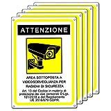 Cartello area videosorvegliata   Telecamera videosorveglianza per negozio e proprietà privata  GDPR 2020   plastica (20x15 cm) (5 Pezzi Cartello Area Videosorvegliata)