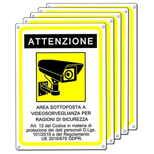 Cartello area videosorvegliata - Telecamera videosorveglianza per negozio e proprietà privata - GDPR 2020 - plastica (20x15 cm) (5 Pezzi Cartello Area Videosorvegliata)
