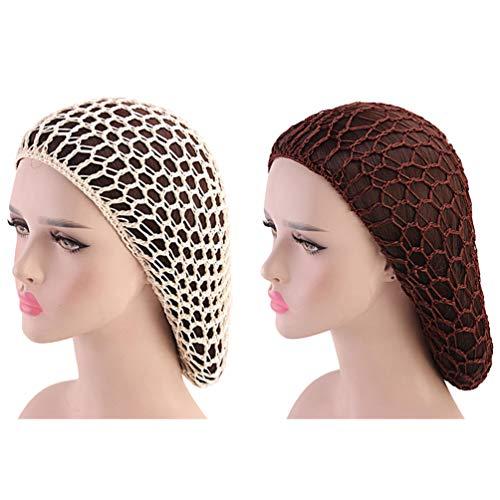 Minkissy 2 Stück Schlafende Haarnetze Häkeln Haarnetz Langes Haar Snood Cover Turban für Frauen Mädchen Beige Kaffee