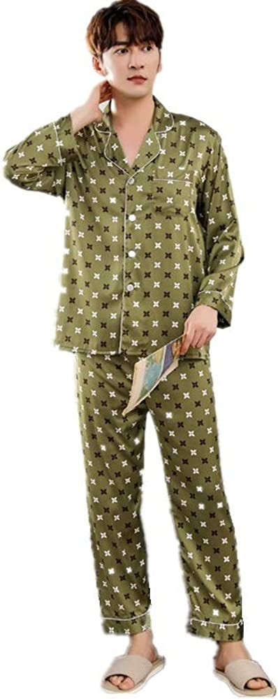 Satin Pajama Set For men,Long Sleeve Loungewear Two-Piece Sleepwear Button-Down Pj Set