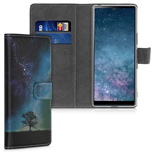 kwmobile Wallet Hülle kompatibel mit Sony Xperia L4 - Hülle mit Ständer Kartenfächer Galaxie Baum Wiese Blau Grau Schwarz