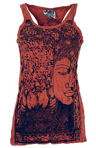 Guru-Shop Sure Tank Top, Damen, Rostorange, Baumwolle, Size:L (40), Bedrucktes Shirt Alternative Bekleidung