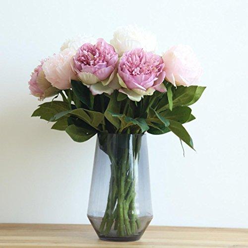 Trada Blumen-Köpfe Künstlich Blumen, Kunstseide gefälschte Blumen Pfingstrose Blumen Hochzeitsstrauß Braut Hortensien Dekor Plastikblumen Deko Pflanzen für DIY Hochzeit Party (Lila) - 2