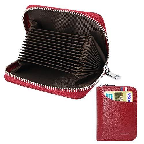 Tarjetero para Tarjetas de Crédito para Hombre Mujer RFID Titular de la Tarjeta de Crédito de Cuero con 13 Ranuras para Tarjetas y 2 Ranuras de Moneda Carteras Monederos con Cremallera (Rojo)