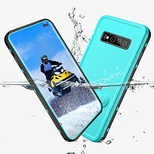 Samsung Galaxy S10 Plus Waterproof Case, Full-Body Rugged Holster Case with Built-in Screen Protector and Kickstand for Galaxy S10+ Plus (2019 Release) (Blue)