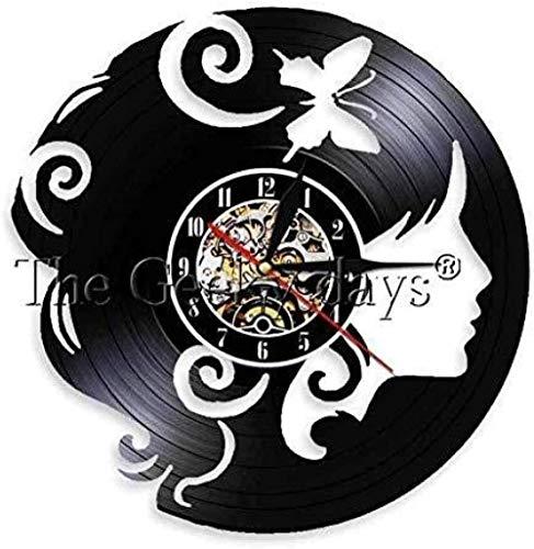 AGGG Reloj de Pared de Pelo Largo Hipster para Mujer, Reloj de Pulsera de Moda para niña, Reloj de Pared de Vinilo para Mujer, Reloj de Pared para Regalo