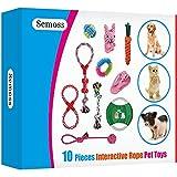 Semoss 10 Piezas Juguetes Morder Perros Resistente,Natural Algodón Juguetes de Cuerda Mascotas Juego Interactivos,Perro Regalos antiestres para Perros Pequeños y Medianos