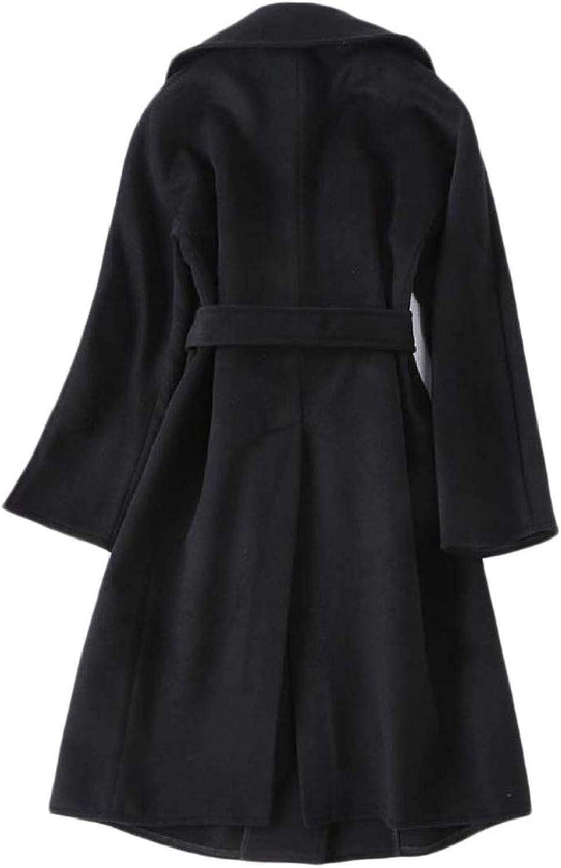 Coolhere Womens Skinny Fleece Belted Warm Elegent Classics Duffle Coat
