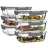 Superior Glass Meal Prep Containers - 6-pack (35oz) Newly Innovated Hinged BPA-free Locking