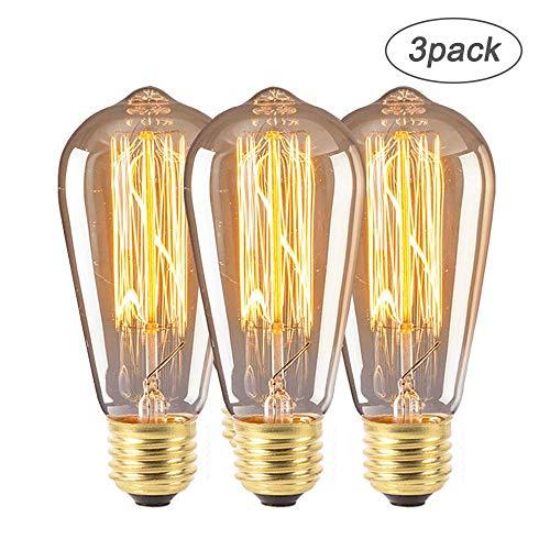 Zorara E27 ST64 Edison Glühbirne, 4W 220V Dimmbar Edison LED Lampe, Antike Filament Beleuchtung im Retro Vintage Look Bernstein [Energieklasse E] (3pcs)