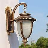 Giow Große Vintage Wandleuchten Outdoor Interior wasserdichte Wandleuchte Aluminium und Glas Bildschirm Gartenlampen Wandleuchte Tor Eingang Gartenhaus Wandbeleuchtung, Rot Bronze 19,5 * 25 * 38 cm