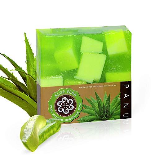 Panu Aloe Vera Seife - Vegane Duschseife für alle Hauttypen - Naturseife als festes Duschgel und festes Shampoo - Natürlicher Duschbrocken - Seife Stück Tierversuchsfrei