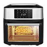 Z ZTDM 17 QT Family Size Air Fryer ETL Listed 1800W 10-in-One Air Fryer Oven, Rotisserie, Dehydrator, Oil-less Cooker, 8 Cooking Presets, 9 Accessories LED Touch Screen Black